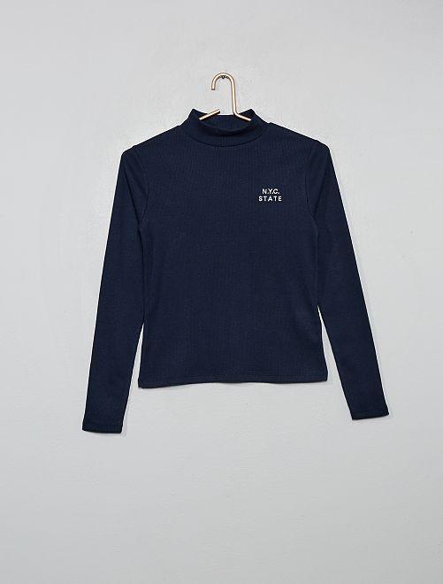 T-shirt côtelé brodé                                         bleu marine