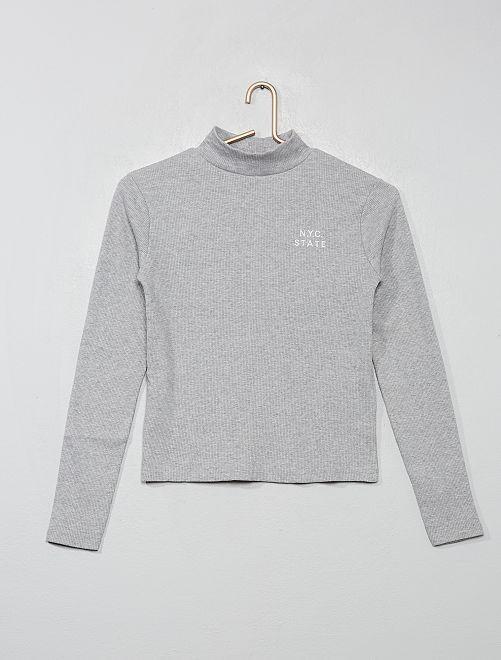 T-shirt côtelé brodé                                         gris