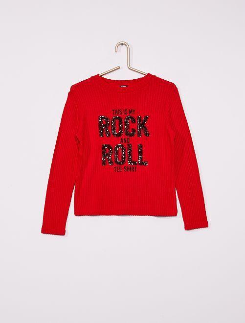 T-shirt côtelé doux                                         rouge