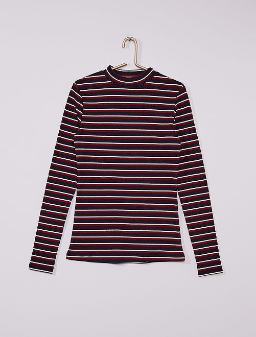 T-shirt côtelé éco-conçu                                                                                                     bleu/rouge