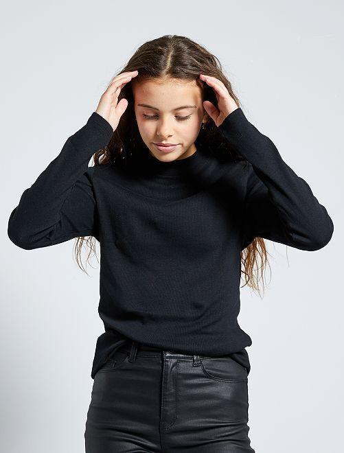 T-shirt côtelé éco-conçu                                                                             noir