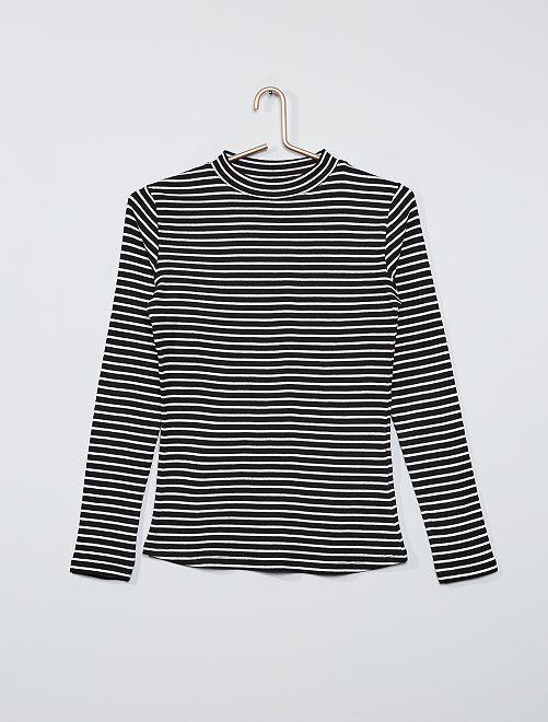 T-shirt côtelé éco-conçu                                                                                 noir rayé