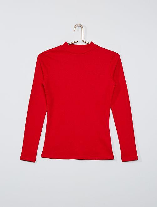 T-shirt côtelé éco-conçu                                                                                                     rouge