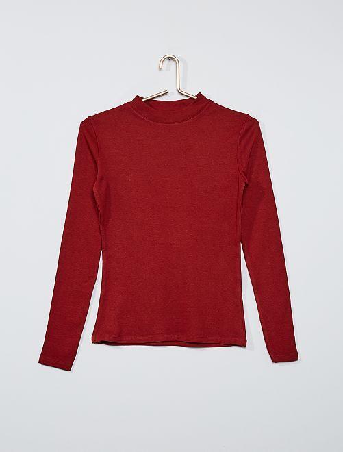 T-shirt côtelé éco-conçu                                                                                                     rouge foncé