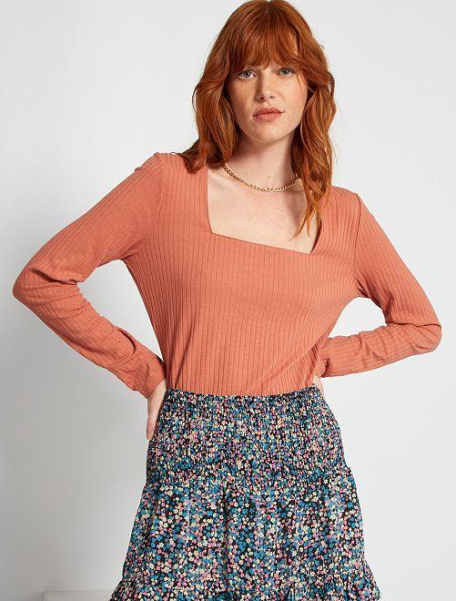 T-shirt côtelé encolure carrée                                         rose blush