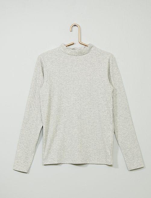 T-shirt côtelé                                                                             gris