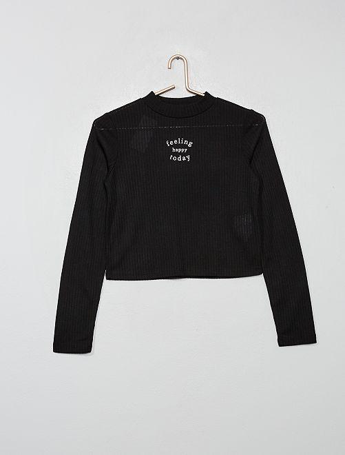 T-shirt côtelé imprimé                             noir