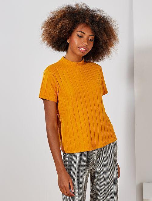 T-shirt côtelé maille grattée                                         jaune