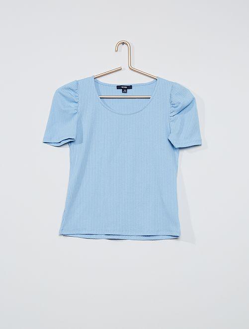 T-shirt côtelé manche gigot                                         bleu