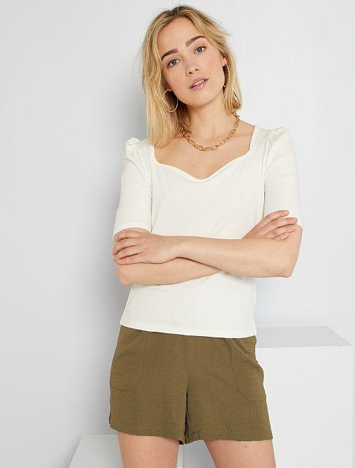 T-shirt côtelé manches froncées                                         écru