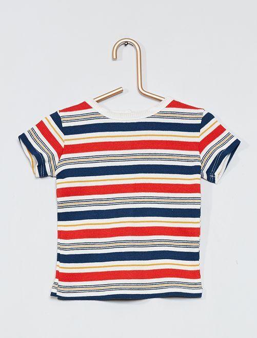 T-shirt côtelé multicolore                                         blanc rayures