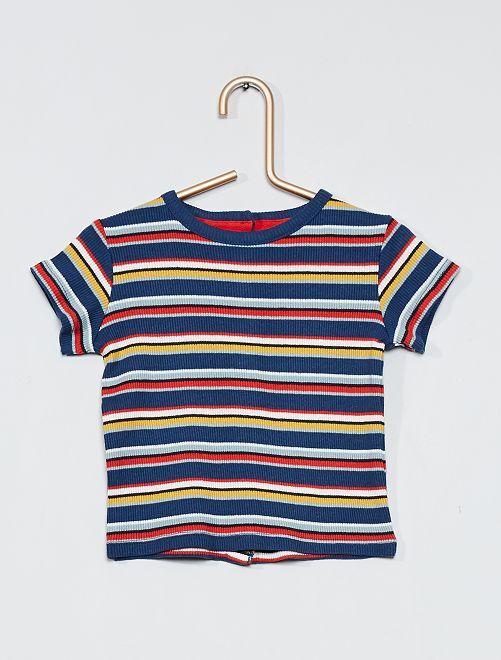 T-shirt côtelé multicolore                     bleu rayures