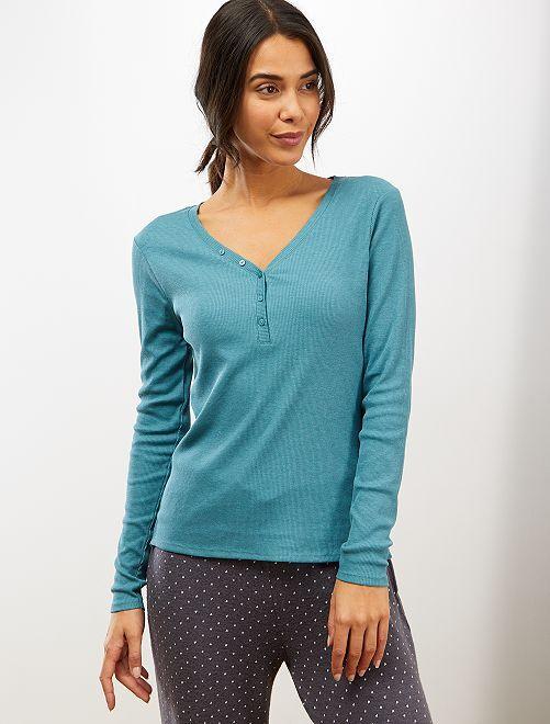 T-shirt côtelé                                                                 turquoise