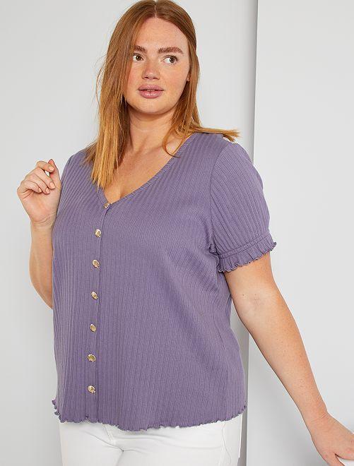 T-shirt côtelé                             violet grisé