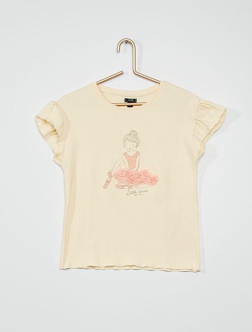 T-shirt côtelée 'danseuse'                                         écru
