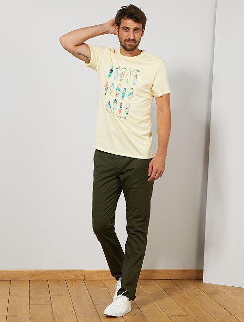 T-shirt coton bio +1m90 'éco-conception'                                                     jaune pâle