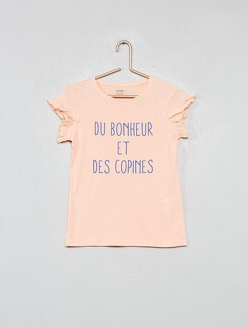 T-shirt coton bio à message                                                                 pêche