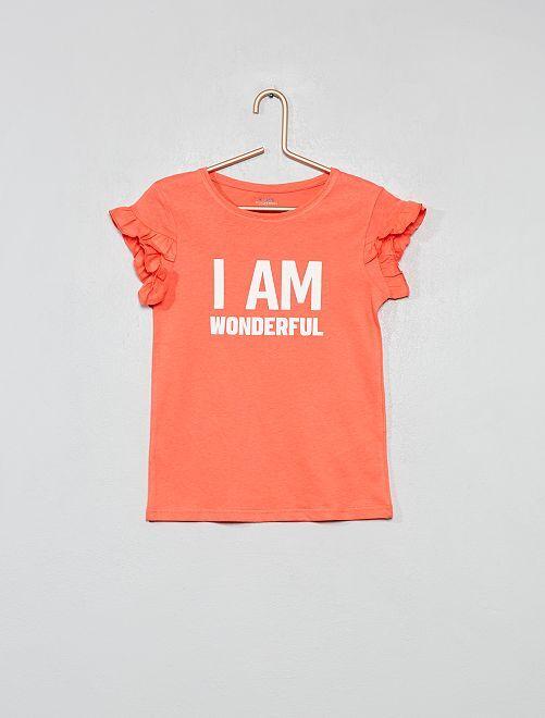 T-shirt coton bio à message                                                                 rose Fille