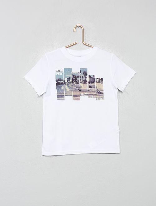 T-shirt coton bio                                                                                                                 blanc/skate