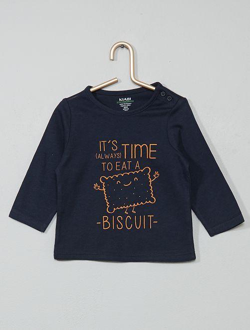 T-shirt coton bio                                                                                                                                                                                                     bleu/biscuit