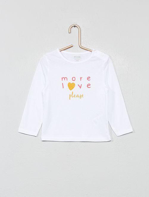 T-shirt coton bio 'éco-conception'                                                                                                                                                                                                     blanc coeur Bébé fille