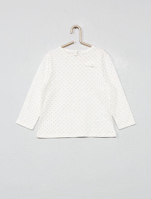 T-shirt coton bio 'éco-conception'                                                                 blanc pois