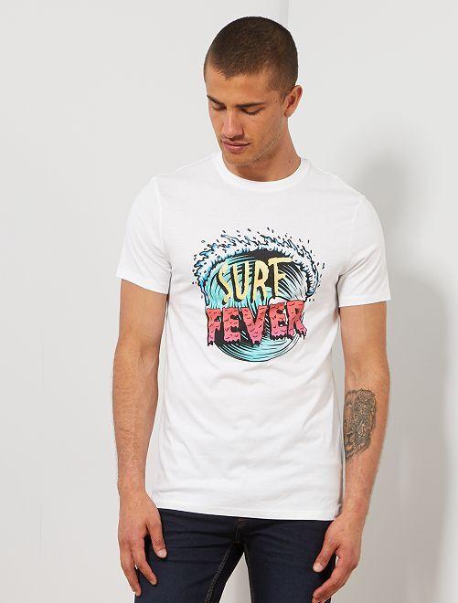T-shirt coton bio 'éco-conception'                                                                                                                                                                                                                             blanc surf