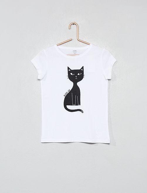 T-shirt coton bio 'éco-conception'                                                                                                                                                                 blanc/chat