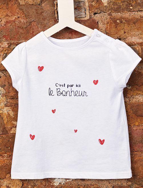 T-shirt coton bio 'éco-conception'                                                                                                                                                                 blanc/cœur Bébé fille