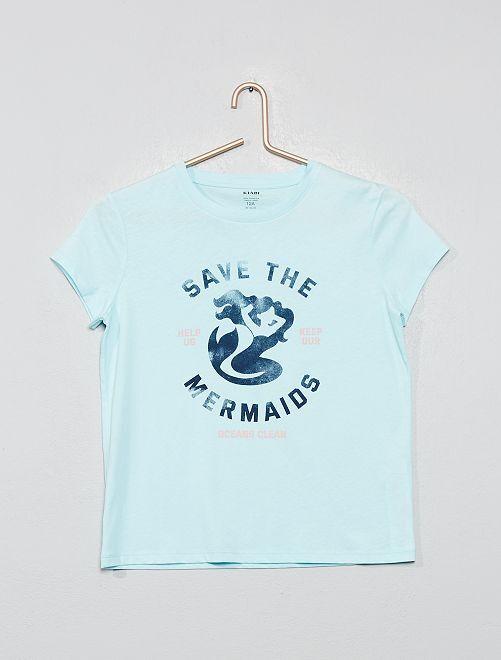 T-shirt coton bio 'éco-conception'                                                                 bleu Fille adolescente