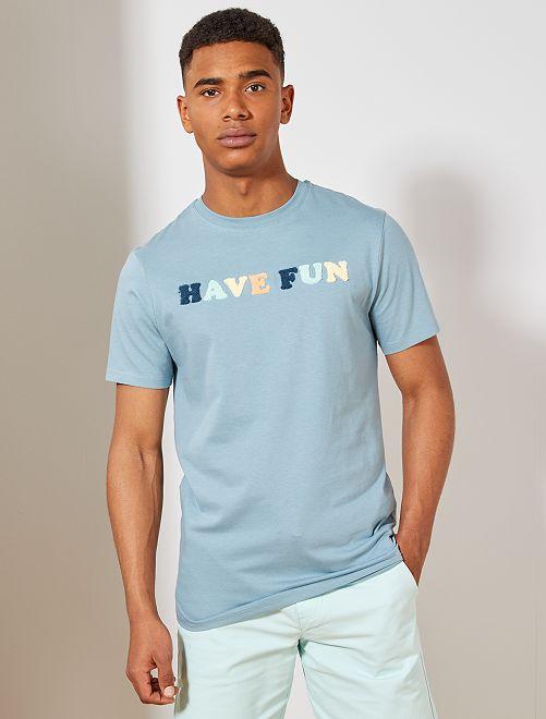 T-shirt coton bio 'éco-conception'                                                                 bleu gris Homme