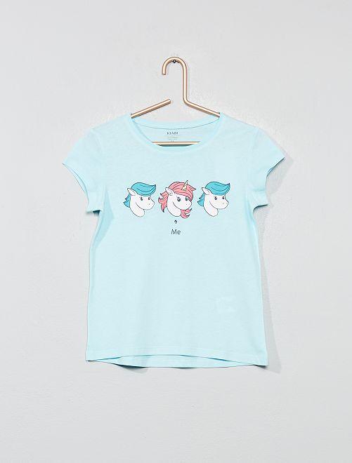 T-shirt coton bio 'éco-conception'                                                                             bleu licorne Fille