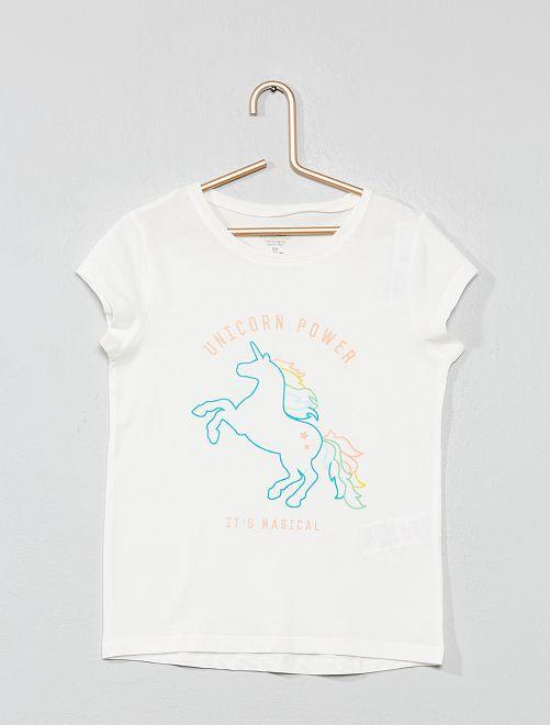 T-shirt coton bio 'éco-conception'                                                                             écru licorne Fille