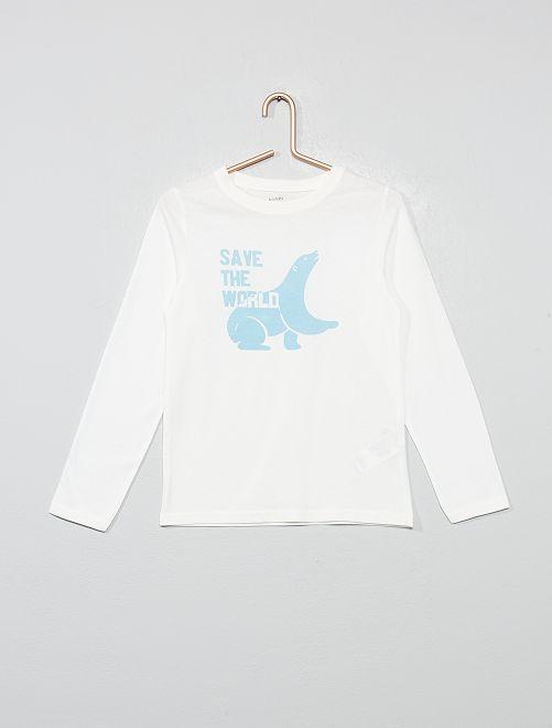 T-shirt coton bio 'éco-conception'                                                                                                                                         écru/bleu