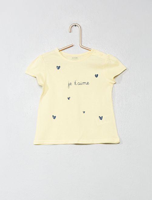 T-shirt coton bio 'éco-conception'                                                                                                                                                                 jaune Bébé fille