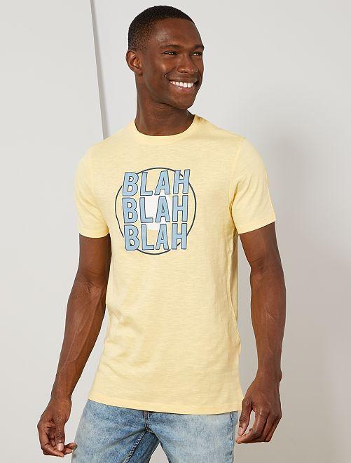 T-shirt coton bio 'éco-conception'                                                                                                                                         jaune blah blah Homme