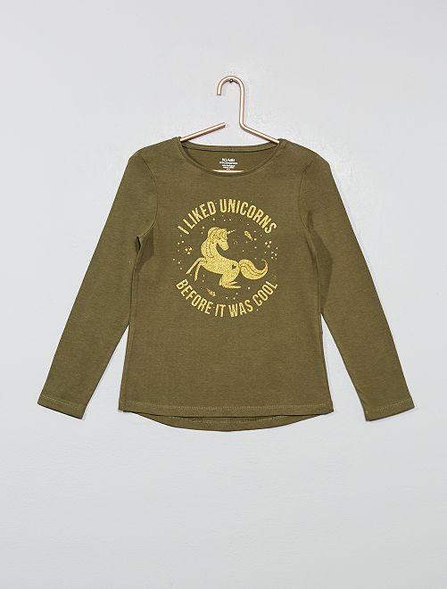 T-shirt coton bio 'éco-conception'                                                                                                                                                     kaki licorne