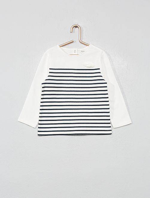T-shirt coton bio 'éco-conception'                                                                                         rayé bleu