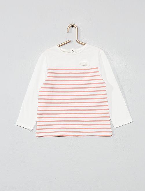 T-shirt coton bio 'éco-conception'                                                                                         rayé rose