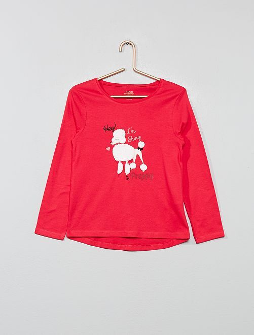T-shirt coton bio 'éco-conception'                                                                                                                                                     rose chien Fille