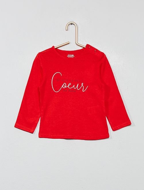 T-shirt coton bio 'éco-conception'                                                                                                                                                                                         rouge coeur