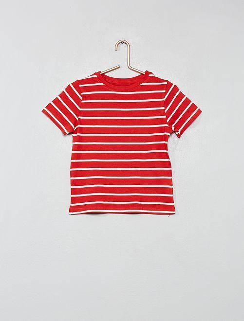 T-shirt coton bio 'éco-conception'                                                                                                     rouge rayé