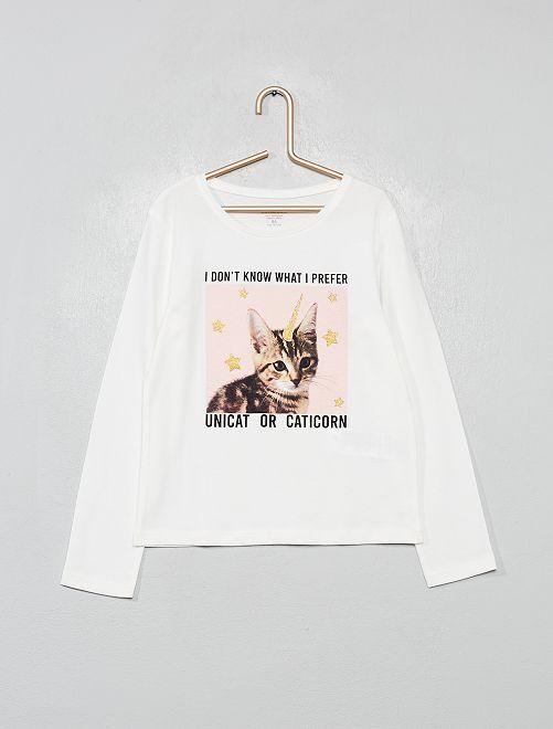 T-shirt coton bio fantaisie                                                                                                                                         écru chat