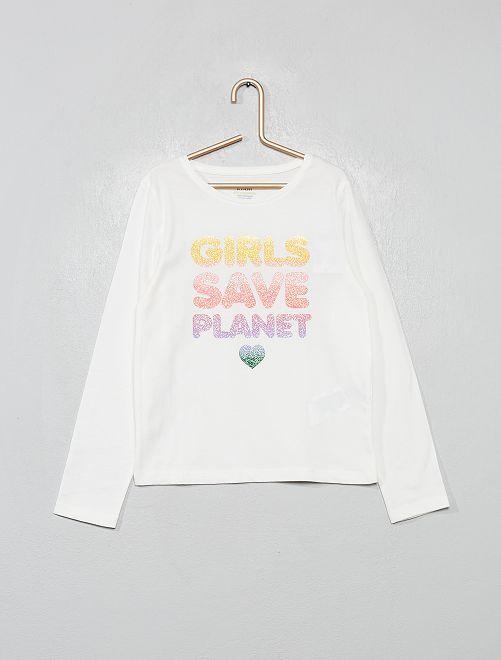 T-shirt coton bio fantaisie                                                                                                                                         écru/planet