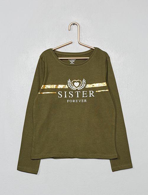 T-shirt coton bio fantaisie                                                                                                                 kaki