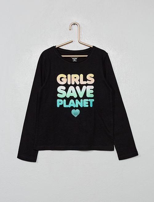 T-shirt coton bio fantaisie                                                                                                                                         noir