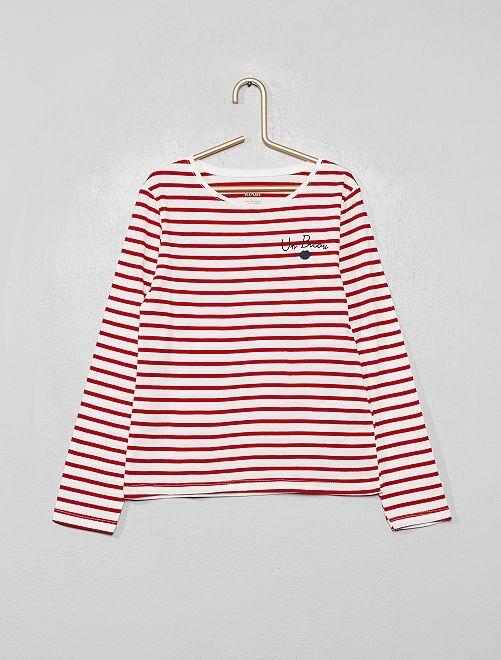 T-shirt coton bio fantaisie                                                                                                                                         rayé rouge