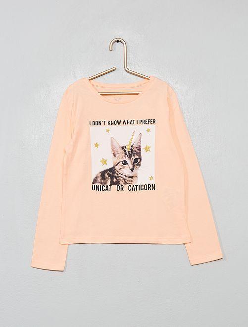 T-shirt coton bio fantaisie                                                                                                                 rose chat