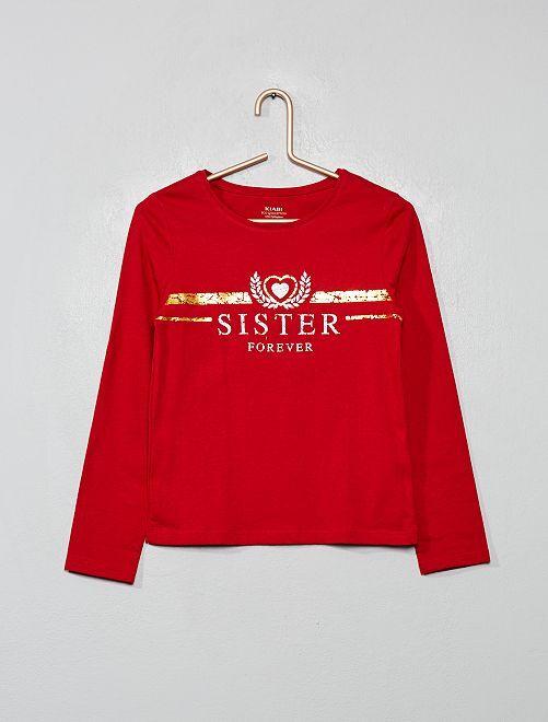T-shirt coton bio fantaisie                                                                                                                                         rouge