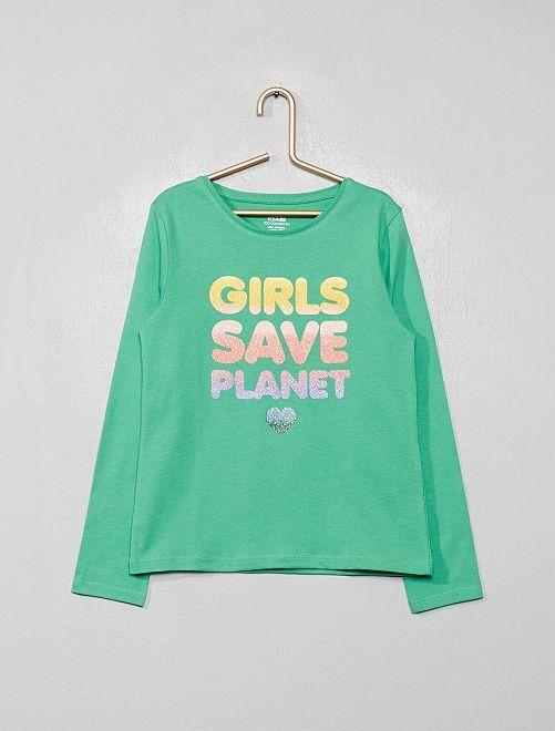 T-shirt coton bio fantaisie                                                                                                                 vert